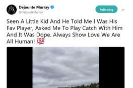 """Seen A Little Kid And He Told Me I Was His Fav Player, Asked Me To Play Catch With Him And It Was Dope. Always Show Love We Are All Human,"" Dejounte Murray said on Twitter."
