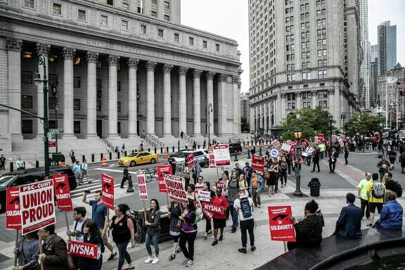 A labor union protest in New York, June 27, 2018. A legal campaign to force public-sector unions to refund fees already paid by nonmembers is underway in several states.