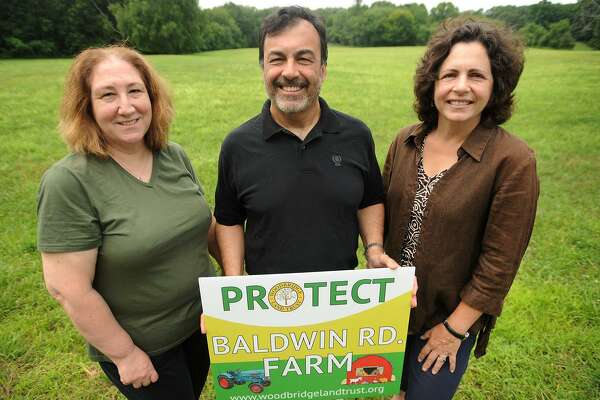 From left, Woodbridge Land Trust members Cynthia Anger, Bryan Pines and Cathy Wick in front of the Baldwin Road Farm property in Woodbridge.
