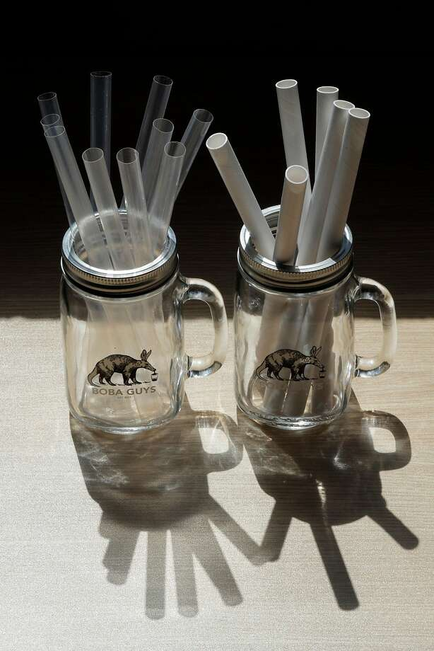 FILE -- Compostable straw alternatives being tested at the Boba Guys store in San Francisco , Calif., on Monday, July 16, 2018. Compostable and reusable straw options are being explored in the wake of a widening straw ban that's been growing in 2018. The market for non-plastic straws is growing, and now straw companies such as LastStraw are saying fake versions of their products are popping up online. Photo: Carlos Avila Gonzalez / The Chronicle
