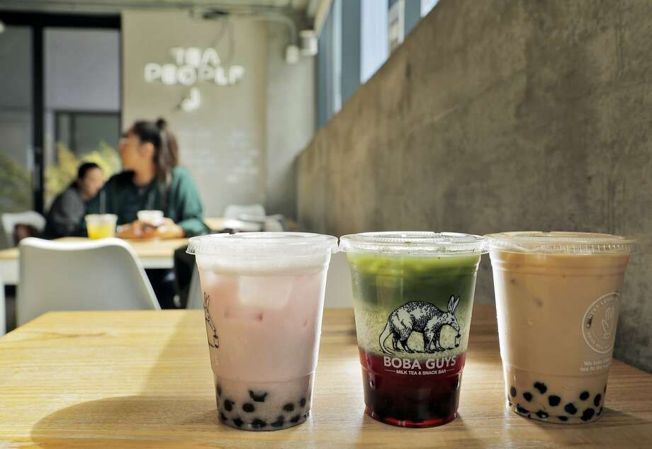 Notorious line: Boba Guys Boba Guys has six locations around the city and you can expect to find a line at pretty much all of them. Their inventive flavors and fresh ingredients are the big appeal. The most popular menu item is the strawberry matcha latte (middle drink pictured).(See next slide for where you should go instead.)  Photo: Carlos Avila Gonzalez / The Chronicle