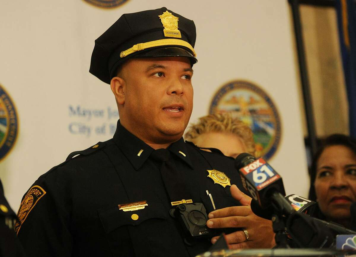 Bridgeport Police Lieutenant Manuel Cotto introduces the city's new police body cameras during the program's announcement at the Margaret Morton Government Center in Bridgeport, Conn. on Tuesday, February 20, 2018.