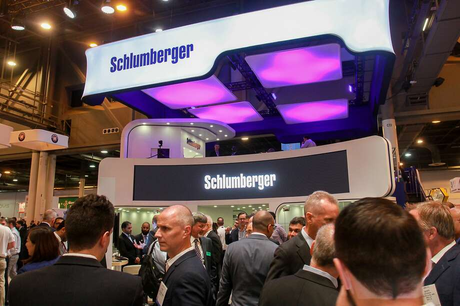 Schlumberger booth at OTC. The services giant is teaming with Rockwell Automation to create a new company for advancing digital technology in the oilfield.