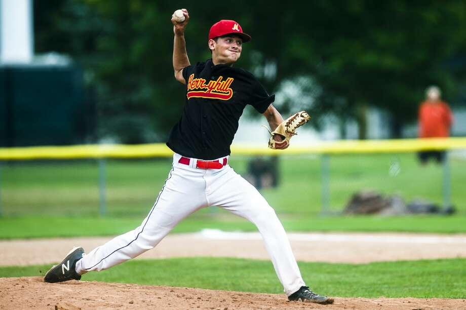 Berryhill Post 165's Evan Schlatter pitches the ball during a game against Gladwin Post 171 on Friday, July 20, 2018 at Northwood University. (Katy Kildee/kkildee@mdn.net) Photo: (Katy Kildee/kkildee@mdn.net)