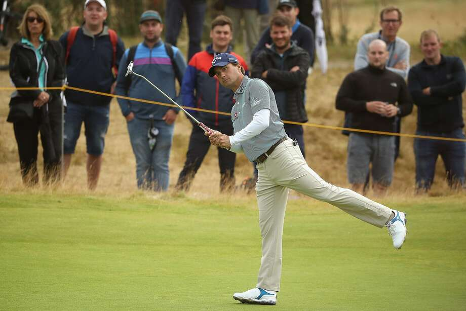 Kevin Kisner reacts to a putt on the 17th green on his way to a second-round 70 and a share of the lead halfway through the 147th Open Championship at Carnoustie. Photo: Francois Nel / Getty Images