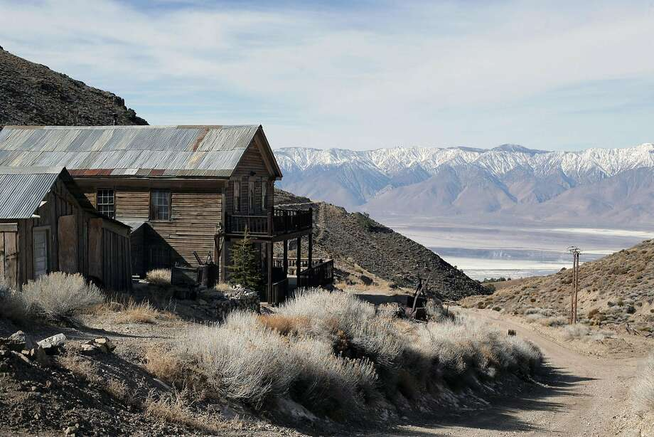 The Sierra Nevada looms over the American Hotel in the ghost town of Cerro Gordo, near Death Valley. Photo: Stephanie Diani / New York Times