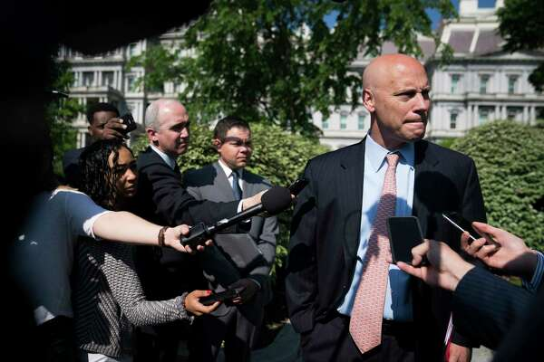 Marc Short talks with reporters in May, when he was still the White House legislative affairs director.