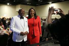 Former San Francisco Mayor Willie L. Brown and current Mayor London Breed pose for a photograph during the 109th annual National Association for the Advancement of Colored People convention at the Henry B. Gonzalez Convention Center in San Antonio, Texas, Wednesday, July 18, 2108. President Bill Clinton presented Brown the Thalheimer Spingarn Medal.