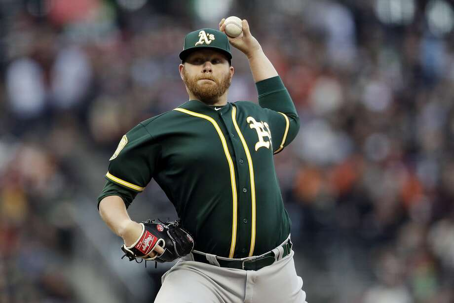 Oakland Athletics starting pitcher Brett Anderson throws to the San Francisco Giants during the first inning of a baseball game Saturday, July 14, 2018, in San Francisco. (AP Photo/Marcio Jose Sanchez) Photo: Marcio Jose Sanchez / Associated Press
