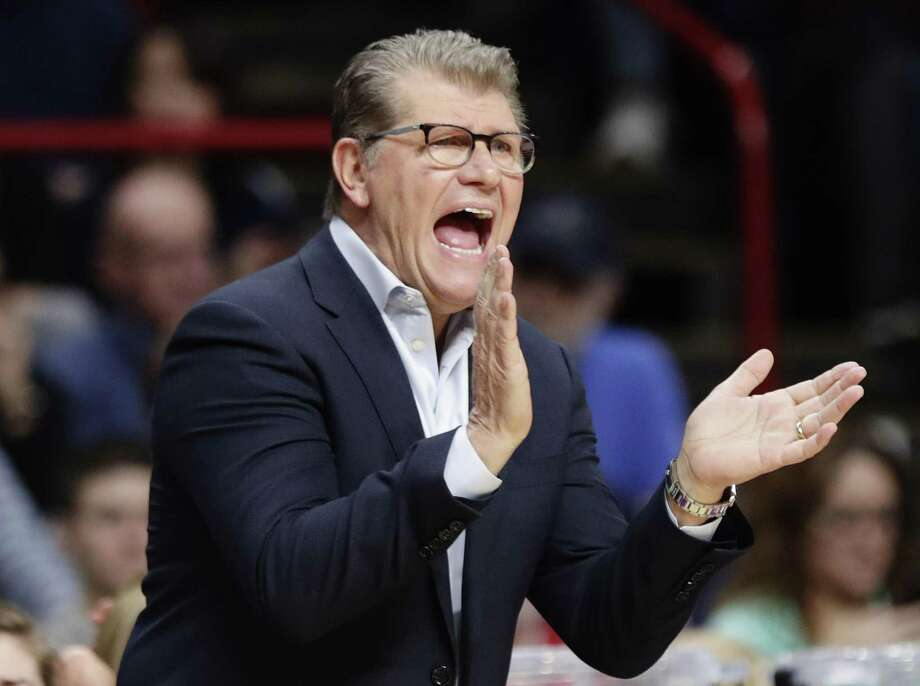 UConn women's basketball coach Geno Auriemma is happy to see former player and assistant coach Jamelle Elliott back at the school. Photo: Frank Franklin II / AP / Copyright 2018 The Associated Press. All rights reserved.