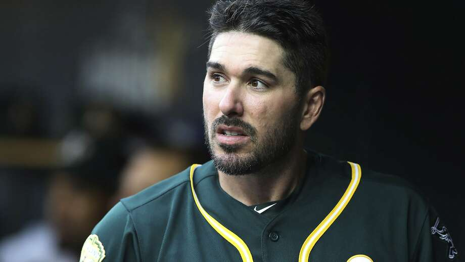 Oakland Athletics' Matt Joyce is seen in the dugout during the third inning of a baseball game against the Detroit Tigers, Wednesday, June 27, 2018, in Detroit. (AP Photo/Carlos Osorio) Photo: Carlos Osorio / Associated Press