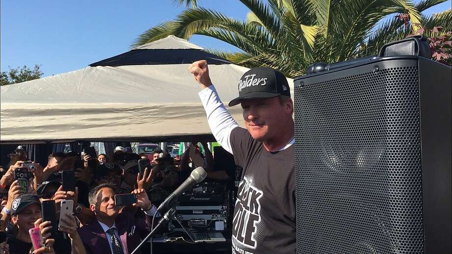Raiders head coach Jon Gruden addresses the crowd at a fan appreciation event at Ricky's Sports Theatre and Grill in San Leandro, Calif., on Friday, July 20. Photo: Matt Kawahara / San Francisco Chronicle