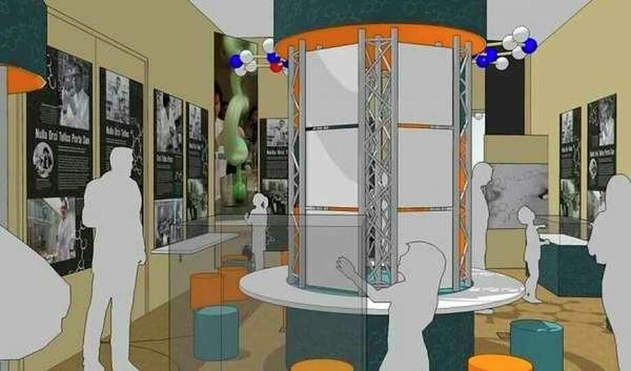 A conceptual rendering created by John Metcalf from Good Design Group portrays an exhibit design that the Midland section of the American Chemical Society is putting together for its centennial anniversary next year.