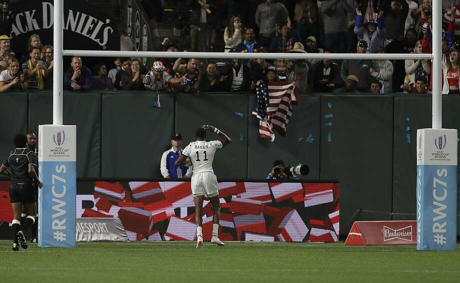 Team USA's Perry Baker celebrates after one of his two scoring tries against Wales on Friday at AT&T Park. The fifth-seeded Americans are counting on a boost from their home crowd. Photo: Jeff Chiu / Associated Press