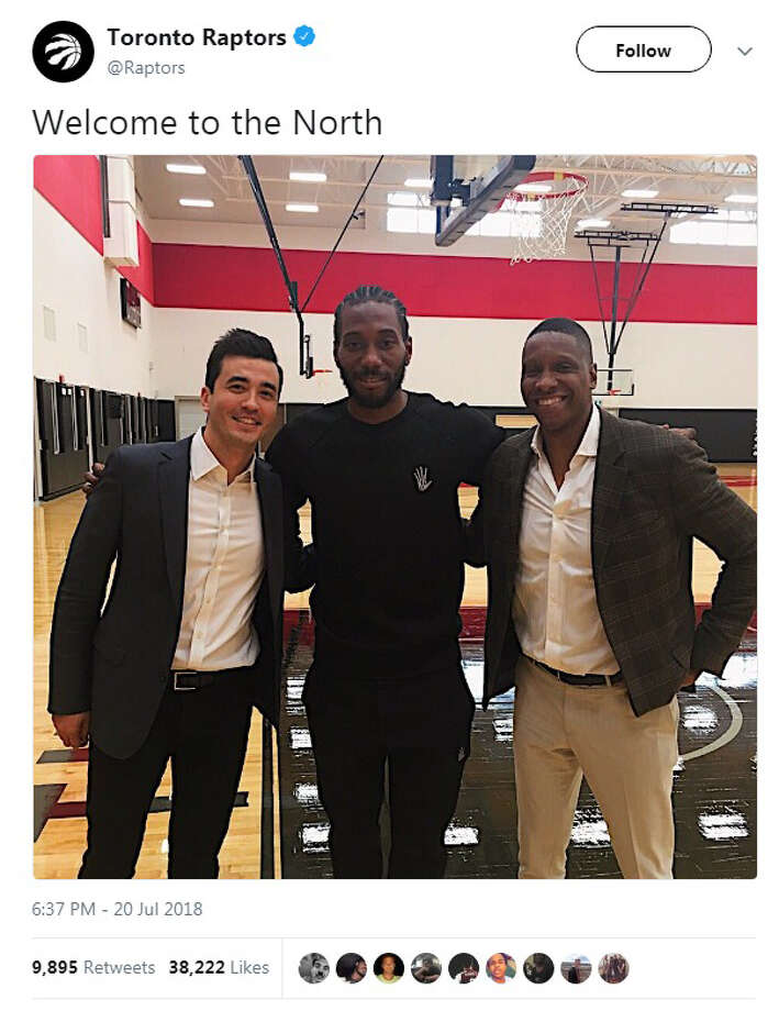 "The Toronto Raptors tweeted out a photo on Friday, July 20, introducing Kawhi Leonard to the team's fans with a ""Welcome to the North"" message. Photo: Twitter/Toronto Raptors"