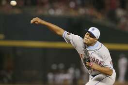 New York Mets relief pitcher Jeurys Familia (27) in the first inning during a baseball game against the Arizona Diamondbacks, Sunday, June 17, 2018, in Phoenix. (AP Photo/Rick Scuteri)