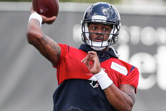 Houston Texans quarterback Deshaun Watson throws a pass during mini camp at The Methodist Training Center on Tuesday, June 12, 2018, in Houston. ( Brett Coomer / Houston Chronicle )