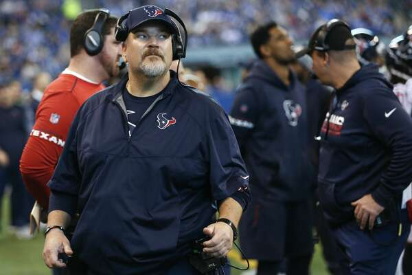 Houston Texans offensive line coach Mike Devlin walks on the sidelines during the first quarter of an NFL football game against the Indianapolis Colts at Lucas Oil Stadium on Sunday, Dec. 31, 2017, in Indianapolis. ( Brett Coomer / Houston Chronicle )