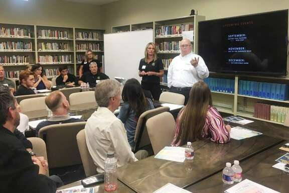Kim Hess, founder of Cassidy Joined for Hope, and Ken Schlenker, director of chaplaincy programs at  the Grace School of Theology,speak to attendees of the community roundtable to discuss suicide prevention in The Woodlands on Wednesday, June 2, at the Grace School of Theology.