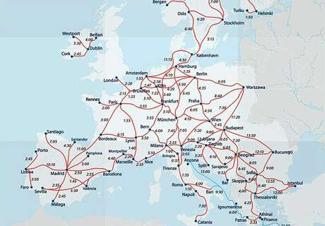 High-speed train travel times in Europe. (Image: Eurail) Photo: Eurail