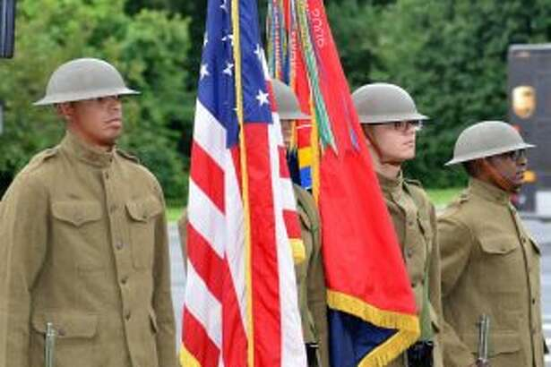 New York National Guard soldiers from the 42nd Division in Troy provide a World War I ceremonial color guard for the division's centennial event in Garden City, New York, on August 12, 2017. (Provided)