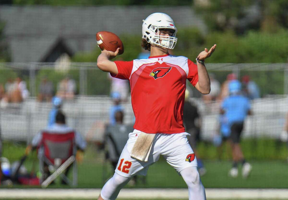Quarterback Gavin Muir of the Greenwich Cardinals passes during the 11th Annual Grip It and Rip It competition on Saturday July 7, 2018 at New Canaan High School in New Canaan, Connecticut.