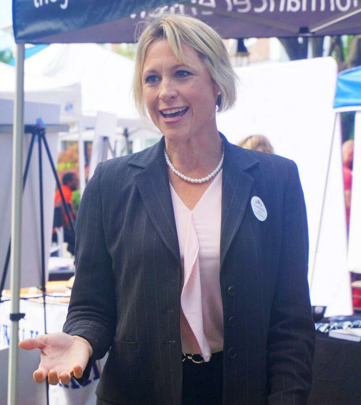 Sue Hatfield, Republican endorsed candidate for attorney general, went to the Ridgefield Sidewalk Sales on Saturday July 21, 2018 to meet with voters ahead of the August primary.