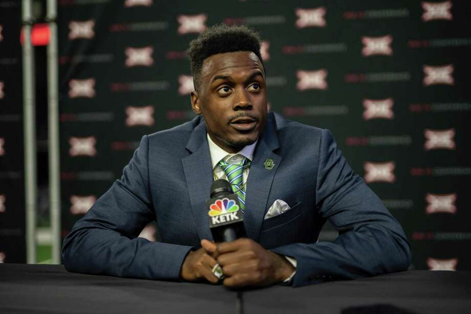 Baylor wide receiver Chris Platt, a Willis High School alum, answers questions during Big 12 Media Day in Frisco.