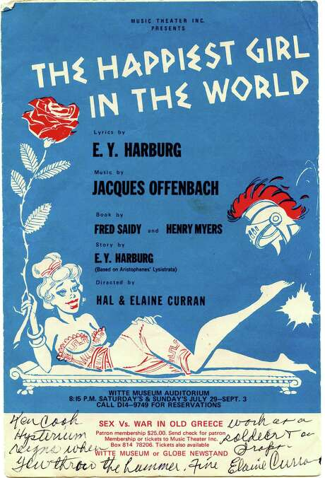 "This is the program from ""The Happiest Girl in the World,"" one of Music Theater Inc.'s summer 1967 shows, staged in the auditorium of the Witte Museum. Photo: Courtesy Photo"