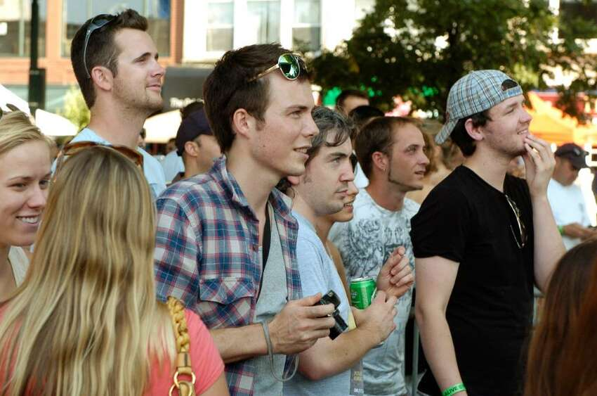 Audience listens to bands Alive @ Five series on Thursday July 8, 2010 in Stamford, Conn.The concert opened with local band The Woulda Coulda Shouldas and featured Nick Howard and headliner Rusted Root.