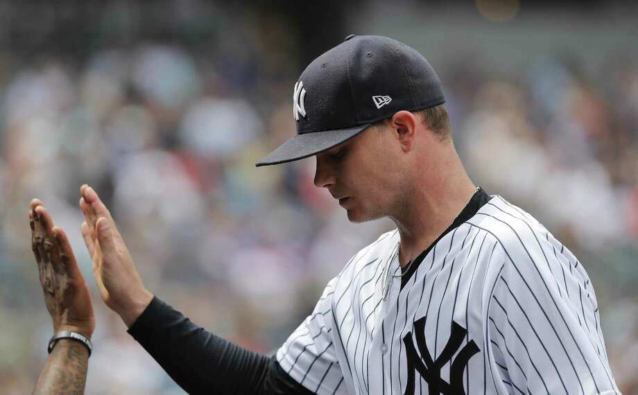 Yankees starting pitcher Sonny Gray is congratulated by teammates as he leaves Saturday's game against the Mets in the sixth inning. Photo: Julie Jacobson / Associated Press / Copyright 2018. The Associated Press. All Rights Reserved.
