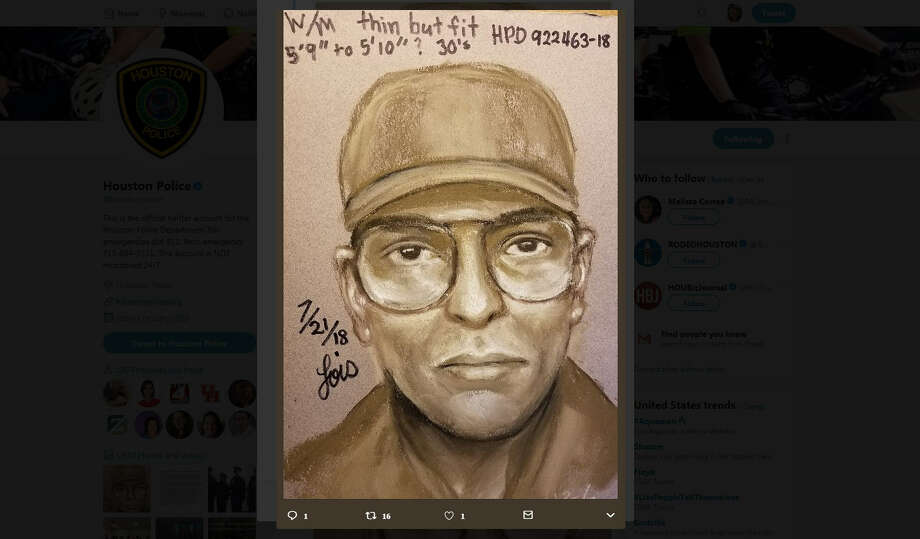 A day after a beloved Houston cardiologist was gunned down while biking to work in the Texas Medical Center, Houston police have released a sketch of the person of interest. A reward has been offered in an effort to catch the killer. Photo: Houston Police Department
