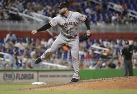 San Francisco Giants relief pitcher Hunter Strickland delivers during a baseball game against the Miami Marlins, Wednesday, June 13, 2018, in Miami. The Marlins won 5-4. (AP Photo/Lynne Sladky)