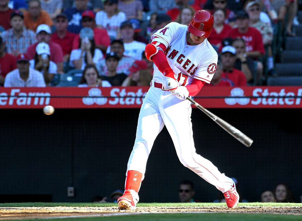 ANAHEIM, CA - JULY 21: Shohei Ohtani #17 of the Los Angeles Angels of Anaheim doubles in the fifth inning of the game against the Houston Astros at Angel Stadium on July 21, 2018 in Anaheim, California. (Photo by Jayne Kamin-Oncea/Getty Images)