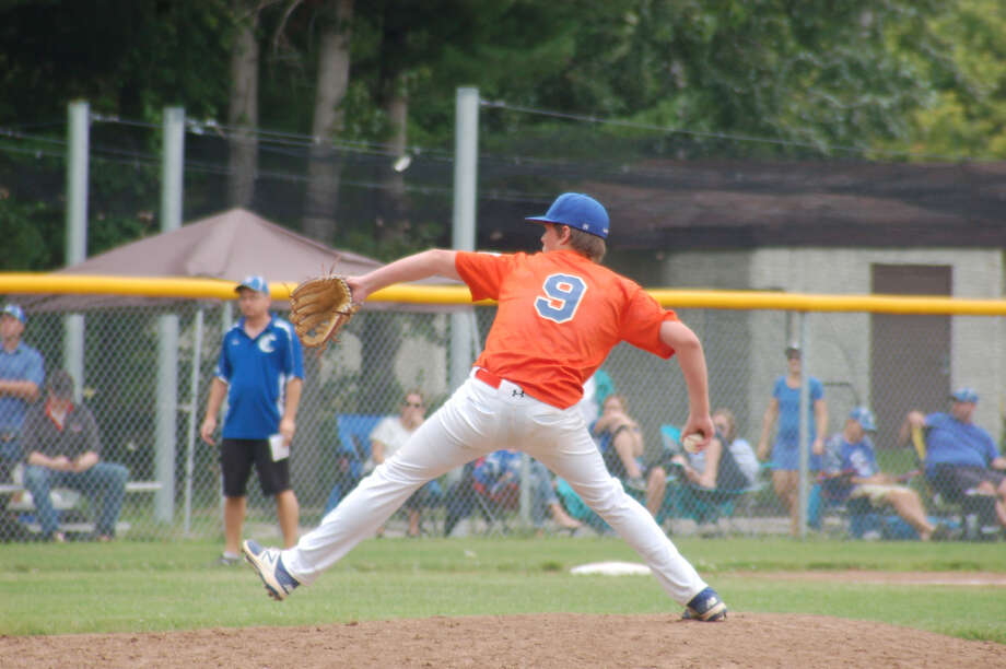 Midland's Jack Bakus delivers a pitch during Saturday's Junior League Baseball sectional at the Larkin Township fields. Photo: Photo Provided