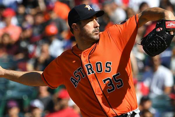 ANAHEIM, CA - JULY 21:  Justin Verlander #35 of the Houston Astros pitches in the first inning against the Los Angeles Angels of Anaheim at Angel Stadium on July 21, 2018 in Anaheim, California.  (Photo by Jayne Kamin-Oncea/Getty Images)