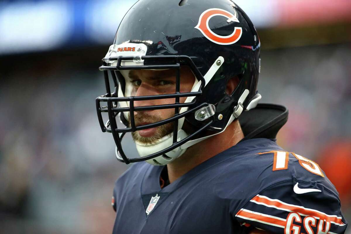 CHICAGO, IL - OCTOBER 22: Kyle Long #75 of the Chicago Bears warms up prior to the game against the Carolina Panthers at Soldier Field on October 22, 2017 in Chicago, Illinois. (Photo by Jonathan Daniel/Getty Images) ORG XMIT: 700070691