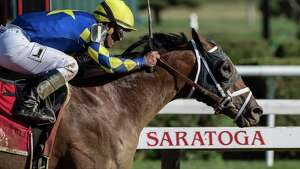 Sombeyay with jockey Javier Castellano beats Strike Silver with jockey Julien Leparoux to the wire to win the 104th running of The Sanford Saturday  July 21, 2018 at the Saratoga Race Course in Saratoga Springs, N.Y.  (Skip Dickstein/Times Union)