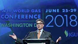 Energy Secretary Rick Perry  speaks during the World Gas Conference in Washington.