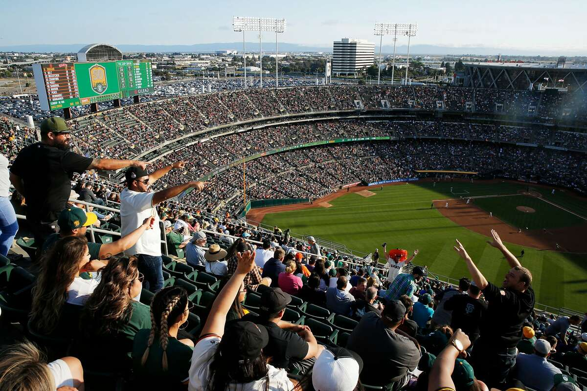 The Oakland Coliseum's Mount Davis during an MLB game between the Oakland Athletics and San Francisco Giants on Saturday, July 21, 2018, in Oakland, Calif. For the first time in 13 years, the A�s opened Mount Davis, the tallest deck in the Oakland Coliseum.