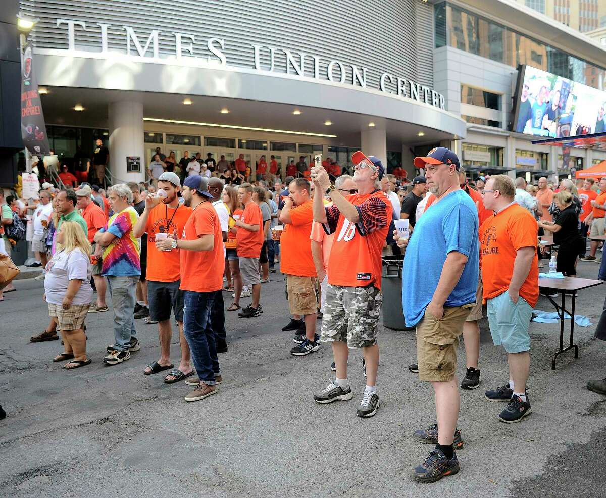 Fans enjoy pre game activities before the Albany Empire play the Washington Valor during a arena football league playoff game Saturday, July 21, 2018, in Albany, N.Y. (Hans Pennink / Special to the Times Union)