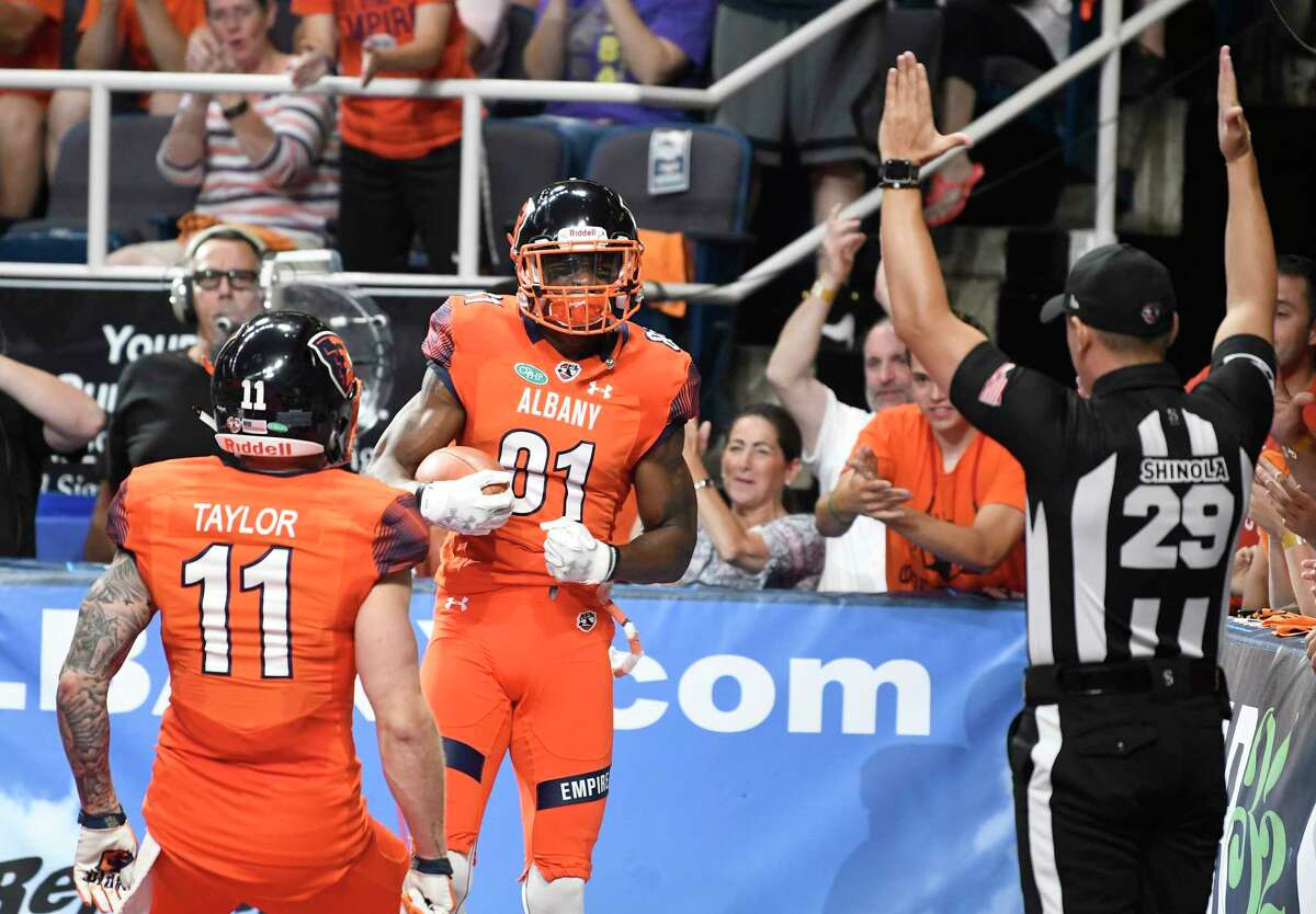 Albany Empire's Joe Sykes (1) celebrates after scoring against the Washington Valor during a arena football league playoff game Saturday, July 21, 2018, in Albany, N.Y. (Hans Pennink / Special to the Times Union)