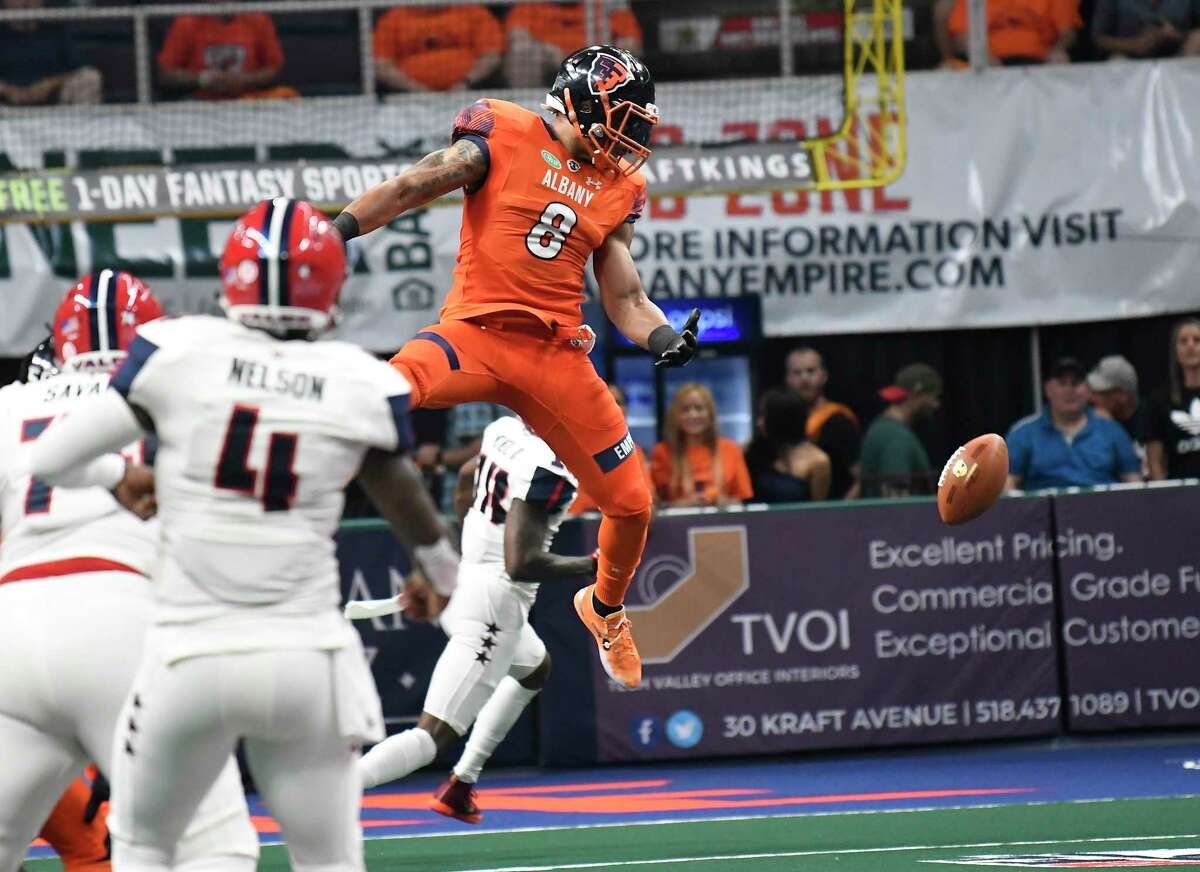 Albany Empire'sTerrance Smith (8) blocks a pass against the Washington Valor during a arena football league playoff game Saturday, July 21, 2018, in Albany, N.Y. (Hans Pennink / Special to the Times Union)