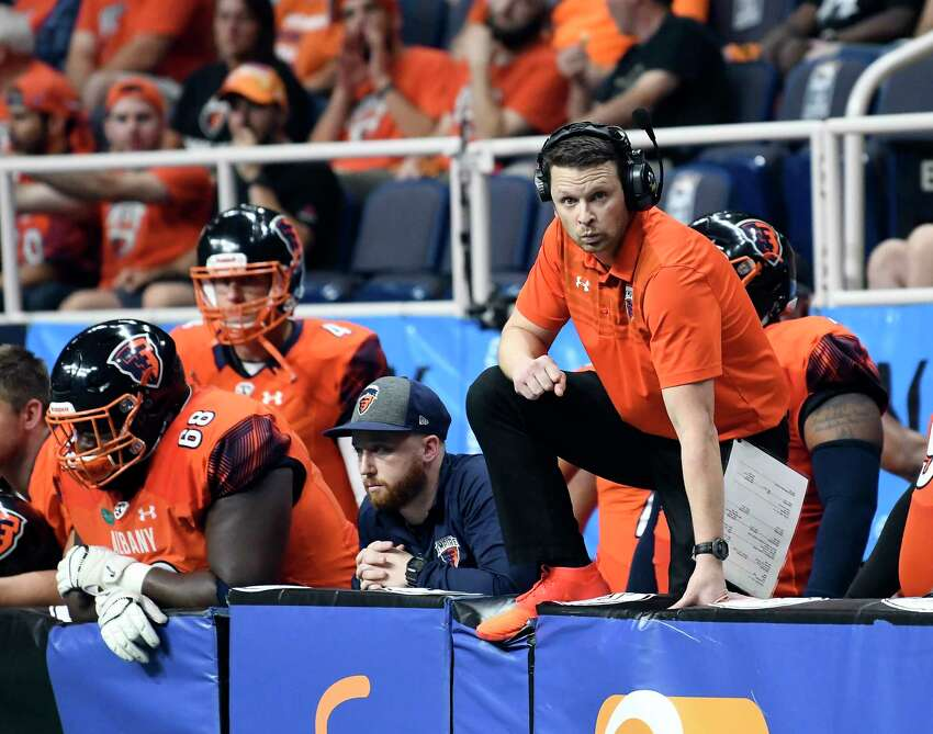 Albany Empire's head coach Rob Keefe watches as his team play the Washington Valor during a arena football league playoff game Saturday, July 21, 2018, in Albany, N.Y. (Hans Pennink / Special to the Times Union)