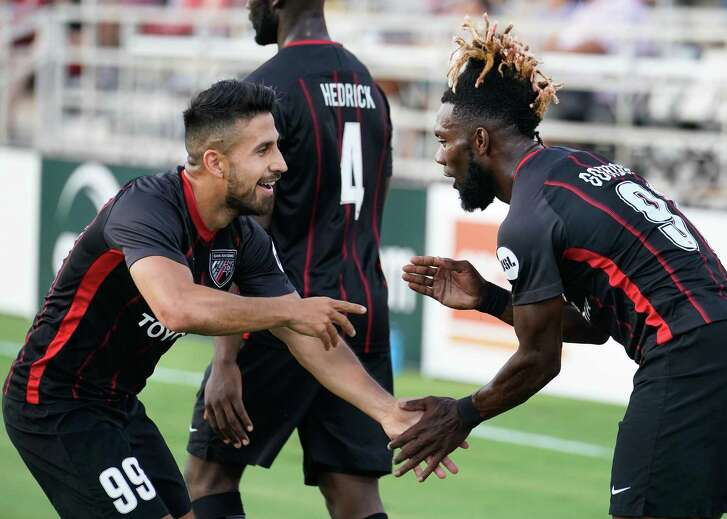 Real Monarchs SLC plays San Antonio FC during the first half of a USL soccer match, Saturday, July 21, 2018, at Toyota Field in San Antonio, Texas. (Darren Abate/USL)