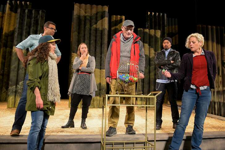 """Death (Victor Talmadge, center) is flanked by the five Somebodies - Sarita Ocon (left foreground), Lance Gardner, Jenny Nelson, Jomar Tagatac) and Stacy Ross - in California Shakespeare Theater's """"Everybody."""""""