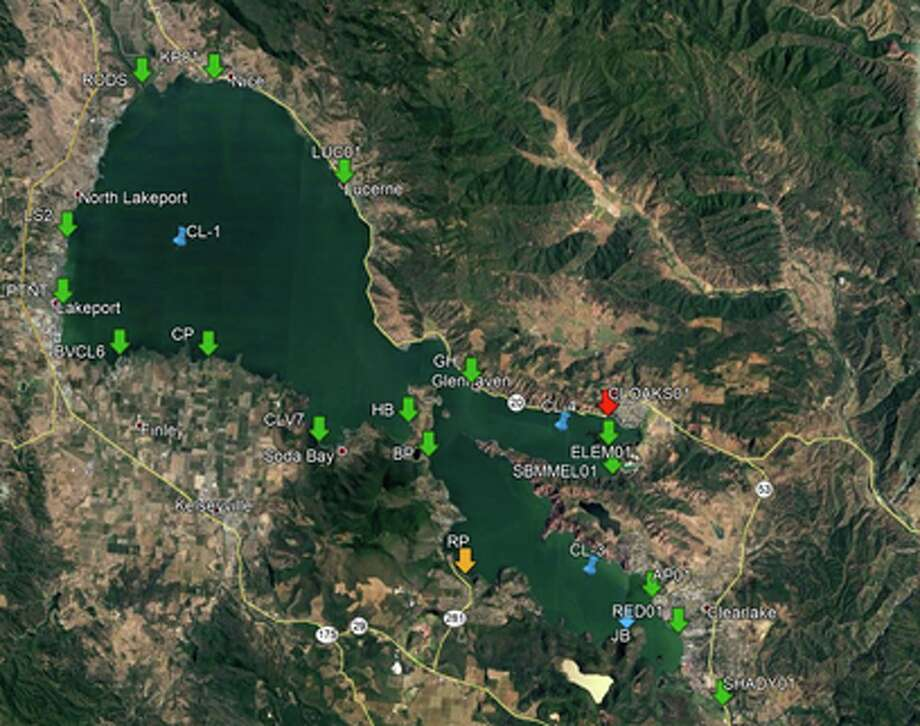 A map of the 2018 sampling results and locations of toxic blue-green algae in Lake County. Green Markers - Below California trigger levels Blue Markers - Regular sites not sampled during this last sampling event Yellow Markers - Caution trigger level Orange Markers - Warning trigger level Red Marker - Danger trigger level Photo: Lake County Department Of Public Health