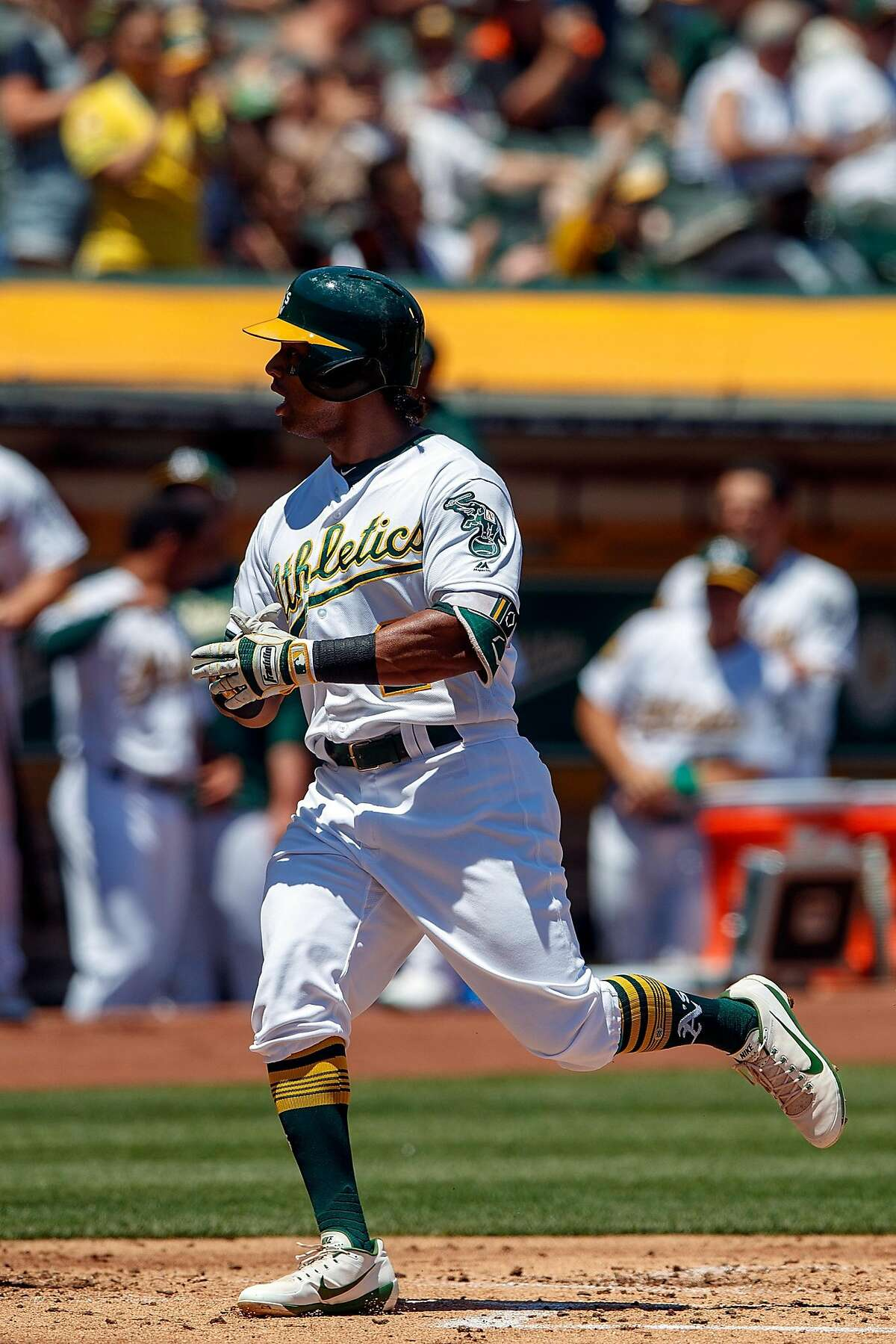 Khris Davis #2 of the Oakland Athletics celebrates after hitting a two run home run against the San Francisco Giants during the first inning at the Oakland Coliseum on July 22, 2018 in Oakland, California.
