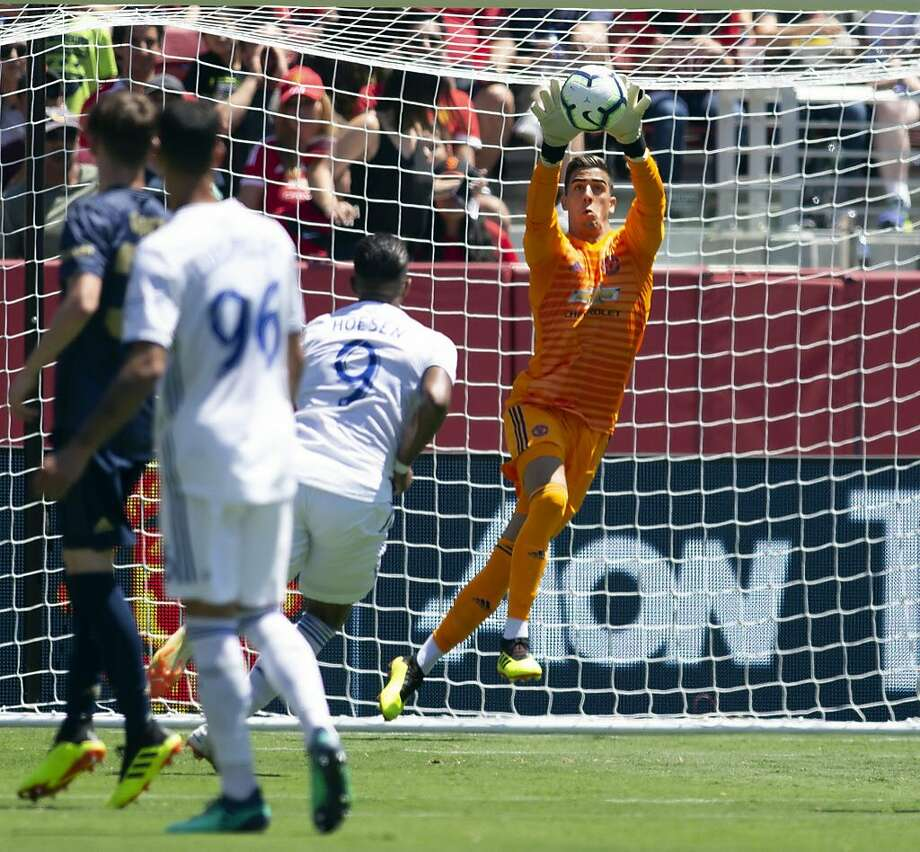 Manchester United goaltender Joel Pereira saves a San Jose Earthquakes shot on goal during the first half of a soccer game, Sunday, July 22, 2018, in Santa Clara, Calif. (AP Photo/D. Ross Cameron) Photo: D. Ross Cameron / Associated Press