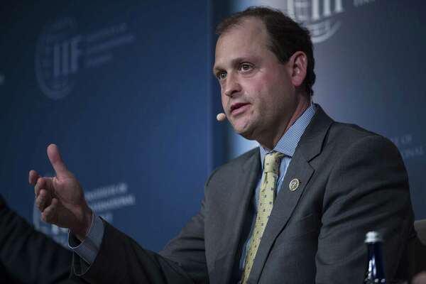 Rep. Andy Barr, R-Ky., seen here in April, has been forced to walk an awkward line, boasting of a recent ride on Air Force One with President Trump while critiquing his actions.